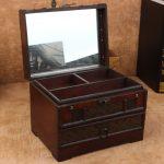 Retro <b>Antique</b> Wooden Vanity Box Retro With Mirror <b>Jewelry</b> Box Pouch Props Wooden Storage Boxes organizer Boxes Desktop Make Up