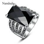 Nandudu Black AAA Cubic Zircon Ring Grey Marcasite Austrian Crystal Rings <b>Accessories</b> Lady Fashion <b>Jewelry</b> Gift R324