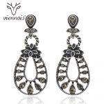 Viennois Dangle Earrings Women Vintage Silver Color Rhinestone Drop Earrings Female <b>Antique</b> Hollow <b>Jewelry</b>