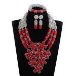 Women Natural Red Coral Bead <b>Jewelry</b> Set Handmade Flowers Bib Wedding <b>Jewelry</b> Set Silver <b>Accessory</b> <b>Jewelry</b> CNR197
