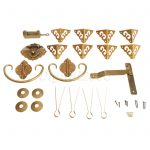 High Quality 1 Set Brass Hardware Set Hinges Latch Handle Corners <b>Antique</b> Trunk Case <b>Jewelry</b> Box with Nails