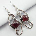 Chanti International <b>ANTIQUE</b> LOOK Earrings, Pure Silver CABOCHON GARNET UNUSUAL <b>Jewelry</b> 4.2 CM