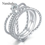 Nandudu Fashion Wedding Ring Special Design <b>Jewelry</b> White Gold Color Cocktail Rings Women Girl <b>Jewelry</b> <b>Accessories</b> Gift R1124
