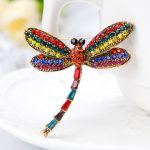 High Quality Crystal Dragonfly Brooches for Women Girl Green <b>Jewelry</b> Scarf Lapel Pins Brooch <b>Antique</b> Golden Plated Accessories