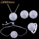 CWWZircons 4 Piece Fashion Ladies <b>Accessories</b> Silver Color Round Cubic Zirconia Women <b>Jewelry</b> Sets Best Friends Gift T034