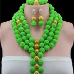 Necklaces Set Gold-color Statement Necklace Earring Green Ball Nigerian Women Wedding <b>Accessories</b> African Beads
