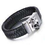 Kalen Vintage Leather Bracelet For Men Punk Biker Stainless Steel Skull Charm Bracelet & Bangle Rock <b>Jewelry</b> Fashion <b>Accessories</b>