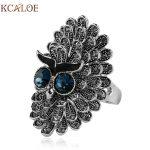 KCALOE <b>Antique</b> Big Rings For Women Luxury Cubic Zirconia Rhinestone Silver Plated Biker Animal Ring Fashion <b>Jewelry</b> Anello