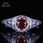 HELON Round Shape 4.5mm Genuine Garnet Ring Sterling Silver 925 Vintage Carving <b>Art</b> <b>Deco</b> Engagement Wedding Ring <b>Jewelry</b> Women's