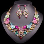 Fashion Crystal Gold Color Necklace Earrings sets Indian Bridal <b>Jewelry</b> Sets for Brides Wedding Party Costume <b>Accessories</b> women