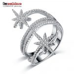 LZESHINE New Luxury Star Rings For Women 100% 925 Sterling Silver Finger Rings With AAA CZ Wedding Party <b>Jewelry</b> <b>Accessories</b>