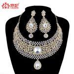 India Style Luxury women Wedding <b>Jewelry</b> Set Crystal Rhinestone necklace earrings set Bridal Party <b>Jewelry</b> <b>Accessories</b>