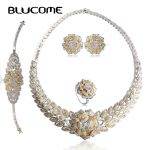 Blucome Luxurious Full Zircons Flower Choker Necklace Stud Earrings Ring Bracelet Set Fashion Wedding <b>Accessories</b> <b>Jewelry</b> Sets
