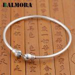 BALMORA 990 Pure Silver Lotus Flower Open Bangles for Women <b>Jewelry</b> Simple Fashion Bracelets <b>Accessories</b> High Quality SY50130