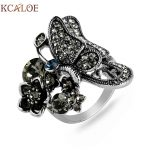 KCALOE Butterfly Dance Wedding Rings <b>Antique</b> Silver Plated Cubic Zirconia Engagement Rings For Women Animal <b>Jewelry</b> Accessories