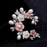 Fashion Horse Eye AAA Cubic Zirconia Micro Pave Setting Freshwater Pearl Shell Flower brooch Women <b>Jewelry</b> Dress <b>Accessories</b>