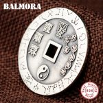 BALMORA 925 Sterling Silver Taoist Round Pendants for Men <b>Accessories</b> Big Dipper Chinese Characters Vintage <b>Jewelry</b> SY14504