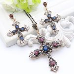 Vintage Turkish Flower Cross Thin Chain <b>Jewelry</b> Religious <b>Antique</b> Gold Color <b>Jewelry</b> Cross Sweater Pendant Necklace Bridal Gifts