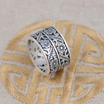 Thai silver ring S990 Fine Silver <b>Antique</b> Style female flower wholesale <b>jewelry</b> gift new matte pierced