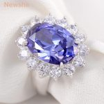 Newshe 6 Carats Created Blue Zoisite-Stone 925 Sterling Silver Wedding Ring Fashion <b>Jewelry</b> <b>Accessories</b> Ship From US
