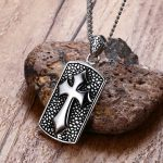 Solid <b>Antiqued</b> Cross Dog Tag Pendant Necklace for Men Catholic Stainless Steel Jewellery Male Vintage <b>Jewelry</b> 24 inch