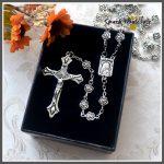 Gift Box!! Catholic <b>Antique</b> 7mm Allloy Flower Beads Rosary Religious Virgin Mary Center Cross Pendant Rosary Necklace <b>Jewelry</b>