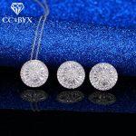 CC Classic Sets For Women Unique Round Stone Cubic Zirconia Pendants Necklace Stud Earrings Fashion <b>Accessories</b> CCAS181