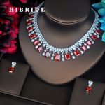 HIBRIDE Luxury Red Color Square Shape CZ <b>Jewelry</b> Sets For Bride Necklace Set Wedding White Gold Color <b>Accessorie</b> Wholesale N-418