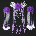 4PCS SETS classical Costume <b>Jewelry</b> Vintage <b>Antique</b> EARRING hairpins headdress hairpin tassel hair cos ancient Bu Yao Han