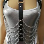 New Fashion Leather Style WRB937 Leather Harness Bondage Beach Chain Collar Goth Choker Shoulder Necklace <b>Jewelry</b> <b>Accessories</b>