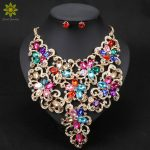 African Beads <b>Jewelry</b> Sets Flower Pendant Necklace Earrings Crystal Wedding Bridal Pendant Dress <b>Accessories</b>