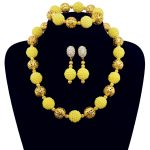 Fashion Yellow Party <b>Accessories</b> Simulated Pearl <b>Jewelry</b> Sets For Women Statement African Beads Necklace Earrings Bracelet Fine