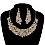 Fashion Korean Pearl Necklace Earrings Bridal <b>Jewelry</b> Sets Brides Golden Plated earrings set Wedding Prom Dress <b>Accessories</b>