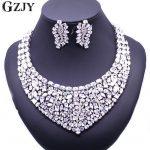 GZJY Gorgeous Zircon Bridal <b>Jewelry</b> Sets Shining Zircon Necklace Earrings For Women Wedding Party <b>Accessories</b>