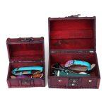 2PCS Wooden <b>Jewelry</b> Box <b>Antique</b> Wood Container Retro Lock Boxes Case Storage Vintage Jewellery Organizer Treasure Chest Gift