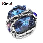 Kinel Natural Stone Ring Vintage <b>Jewelry</b> <b>Antique</b> Silver/Rose Gold Unique Punk Rock Crystal Stretch Ring Wholesale Dropshipping
