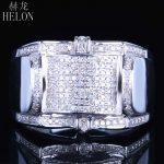 HELON Gift Real Natural Diamonds Wedding Men's Band Ring Designer Fashion Band Pinky Ring Fine <b>Jewelry</b> <b>Sterling</b> <b>Silver</b> 925