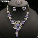 Natural Blue Tanzanite Gemstone <b>Jewelry</b> Sets Genuine Solid 925 <b>Sterling</b> <b>Silver</b> Women Ring Necklace Earring ZHHIRY