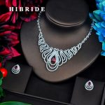 HIBRIDE Red Drop Clear CZ Pave Dubai Bridal <b>Jewelry</b> sets For Women <b>Accessories</b> Big Pendant Necklace Set Wedding <b>Jewelry</b> N-561
