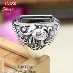 100% sterling silver 925 <b>jewelry</b> 9*12.8mm Adjustable Elephant Ring Blank for man Tray Setting Square Stone <b>Antique</b> Silver