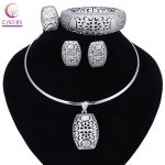 Nigerian Wedding African Beads <b>Jewelry</b> Sets Silver Color Women Necklaces Party Fashion Flowers Hollow Jewellery <b>Accessories</b>
