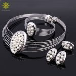 Imitation Pearl <b>Jewelry</b> Sets Nigerian African Beads Women Bridal Wedding Dubai Statement Necklace Earrings <b>Accessories</b>