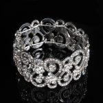 Fashion <b>Jewelry</b> Plated Silver Crystal Openwork Bracelets Gift Summer Elastic Wrist Band Bride Wedding Party <b>Accessories</b> Bangle