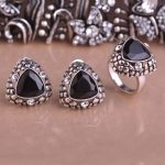Blucome High Quality Stud Earrings Ring <b>Jewelry</b> Set Triangle Shape Black Alloy Women Girl Party Engagement Banquet <b>Accessories</b>
