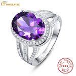 BONLAVIE 10.2 Carats Amethyst Purple Rings Real Pure 925 Sterling Silver <b>Antique</b> Female Designs Oval Ring Engagement <b>Jewelry</b>