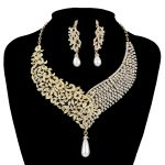 Gold Metal Plated necklace earrings Bridal Wedding <b>jewelry</b> sets Women Party crystal pearl fashion dress earrings set <b>accessories</b>