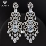 CC earrings for women fashion long tassel design shine cz wedding <b>accessories</b> bride engagement party beach <b>jewelry</b> gift E0117