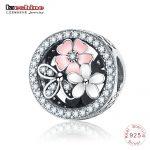 LZESHINE <b>Antique</b> 925 Sterling Silver Sparkling CZ Poetic Blooms Beads Fit Original Charm Bracelets Flower <b>Jewelry</b> Gift PSMB0920
