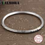 BALMORA Solid 925 Sterling Silver Ethnic Bangles for Women Gift Simple Fashion Bracelets Silver <b>Jewelry</b> <b>Accessories</b> SZ0187