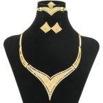 2018 Fashion Women Heart-Shaped Crystal Design Gold Necklace Ring Bracelet <b>Jewelry</b> Sets Italy Wedding <b>Jewelry</b> <b>Accessories</b>